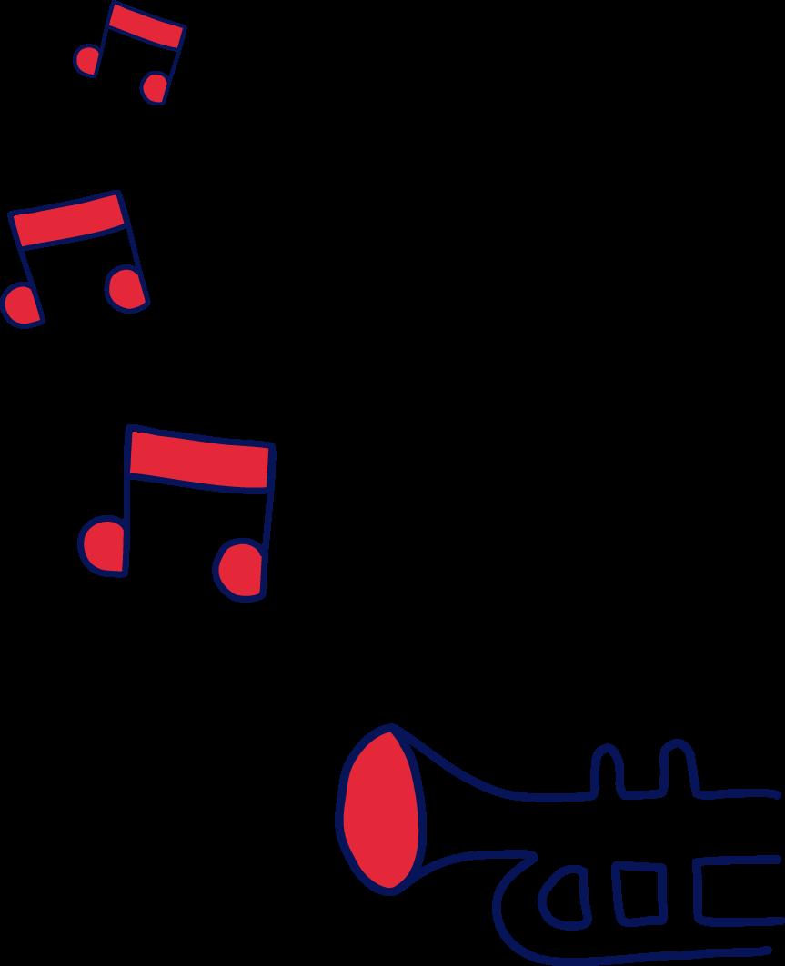 Trompette émettant des notes de musique